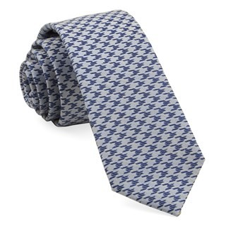 White Wash Houndstooth Soft Blue Tie