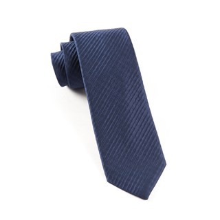 Silk Seersucker Solid Navy Tie