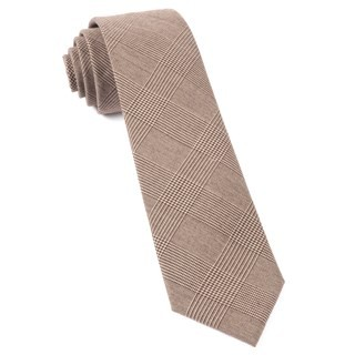 Cotton Glen Plaid Brown Tie