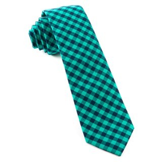 Gingham Shade (Fs) Caribbean Teal Tie