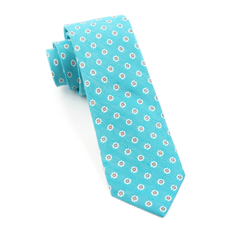 Half Moon Floral Turquoise Tie