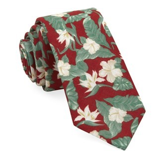 Tropical Floral Red Tie