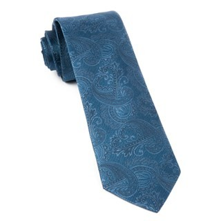 Twill Paisley Whale Blue Tie