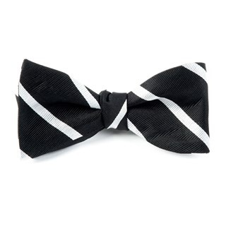Trad Stripe Black Bow Tie