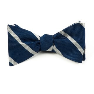 Trad Stripe True Navy Bow Tie
