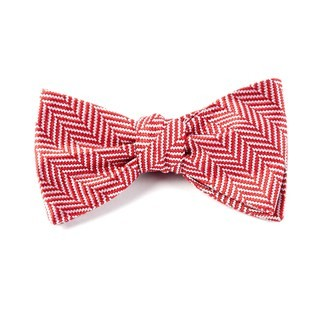 Native Herringbone Red Bow Tie