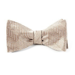 Native Herringbone Light Champagne Bow Tie