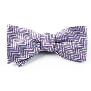 Native Herringbone Lavender Bow Tie
