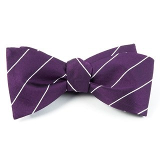 Pencil Pinstripe Deep Plum Bow Tie