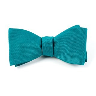 Grosgrain Solid Green Teal Bow Tie