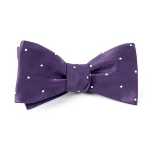 Satin Dot Eggplant Bow Tie