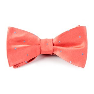Satin Dot Coral Bow Tie