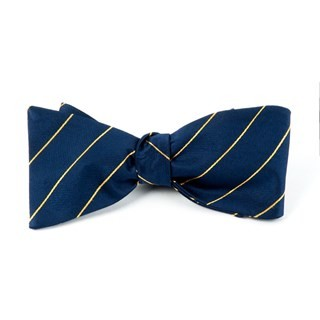 Pencil Pinstripe Navy Bow Tie