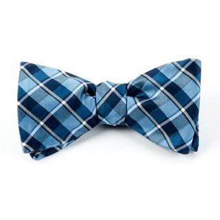 Ensemble Plaid Light Blue Bow Tie
