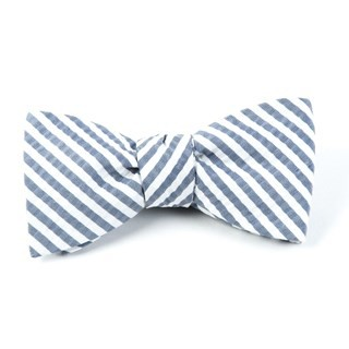 Silk Seersucker Stripe Midnight Navy Bow Tie