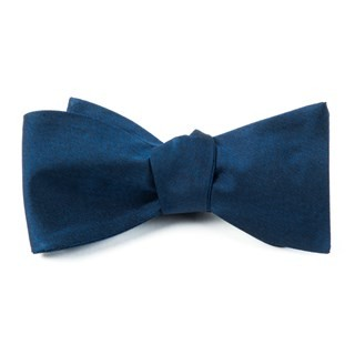 Melange Twist Solid Navy Bow Tie