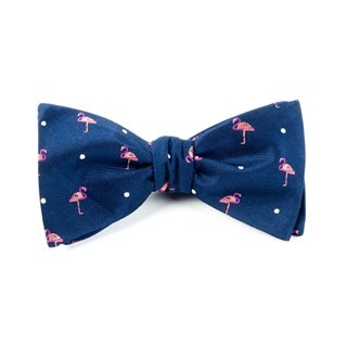 Pink Flamingo Navy Bow Tie