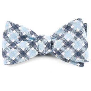 Plaid Bliss Sky Blue Bow Tie