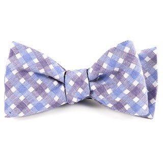 Plaid Bliss Violet Bow Tie