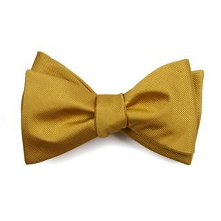 Grosgrain Solid Gold Bow Tie