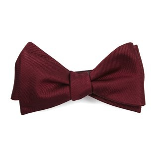 Grosgrain Solid Burgundy Bow Tie