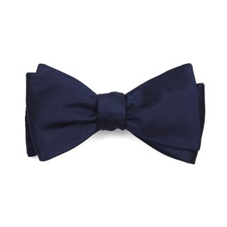 Herringbone Vow Navy Bow Tie