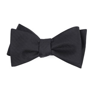 Sound Wave Herringbone Black Bow Tie