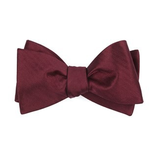 Sound Wave Herringbone Burgundy Bow Tie