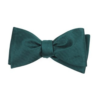 Sound Wave Herringbone Hunter Green Bow Tie