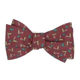 Christmas Fleet Burgundy Bow Tie
