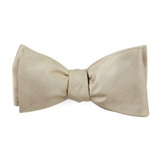 Herringbone Vow Light Champagne Bow Tie