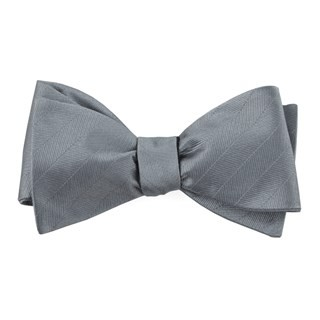 Herringbone Vow Grey Bow Tie