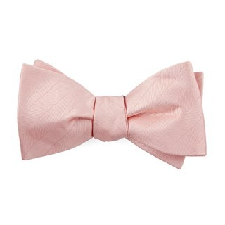 Herringbone Vow Blush Pink Bow Tie