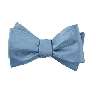 Herringbone Vow Steel Blue Bow Tie