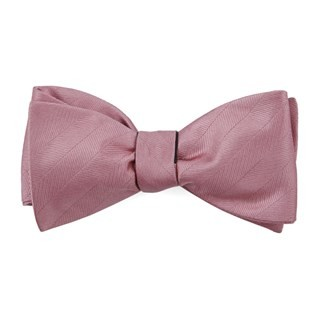 Herringbone Vow Dusty Rose Bow Tie