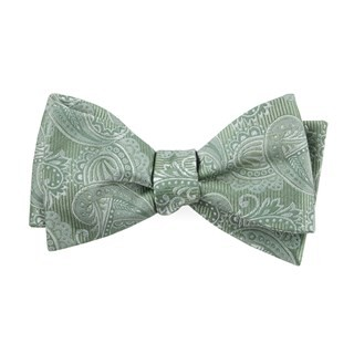 Twill Paisley Moss Green Bow Tie