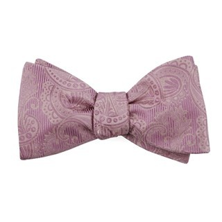 Twill Paisley Dusty Rose Bow Tie