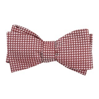 Be Married Checks Burgundy Bow Tie