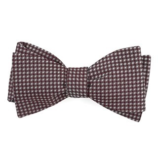 Be Married Checks Wine Bow Tie