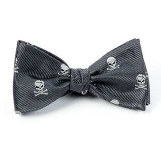 Skull And Crossbones Charcoal Bow Tie