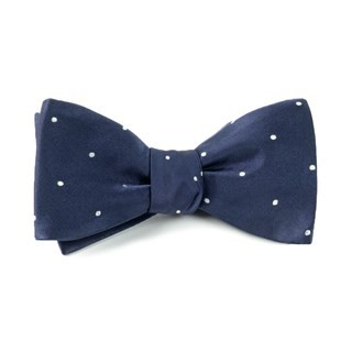 Satin Dot Classic Navy Bow Tie