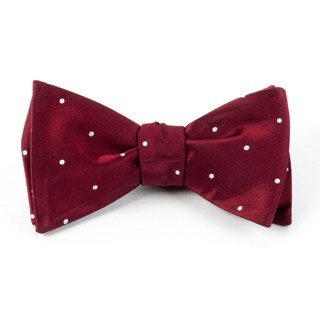 Satin Dot Burgundy Bow Tie