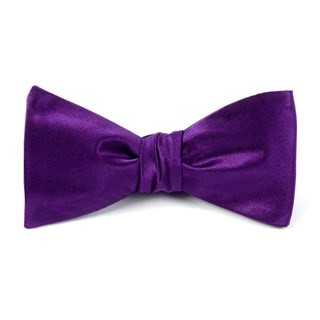 Solid Satin Plum Bow Tie