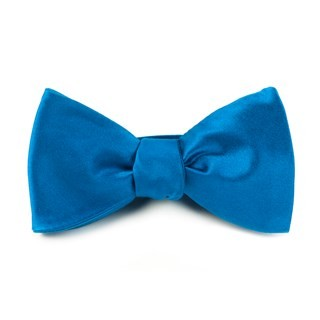 Solid Satin Serene Blue Bow Tie