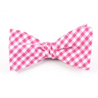 New Gingham Hot Pink Bow Tie