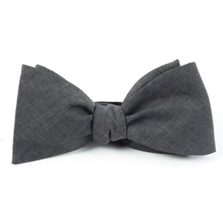 Classic Chambray Warm Grey Bow Tie