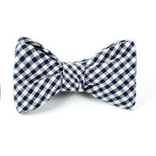 Fall Gingham Navy Bow Tie