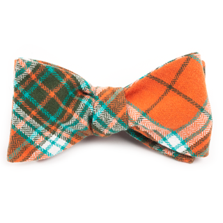 Vice Plaid Orange Bow Tie