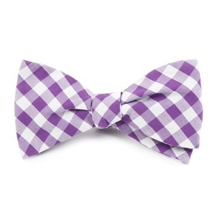 Classic Gingham Purple Bow Tie