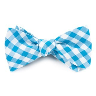 Classic Gingham Turquoise Bow Tie